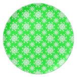 Snowflake 12 Green Dinner Plate