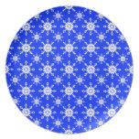 Snowflake 14 Blue Party Plate