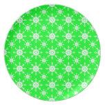 Snowflake 14 Green Dinner Plates