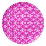 Snowflake 17 Pink Dinner Plates