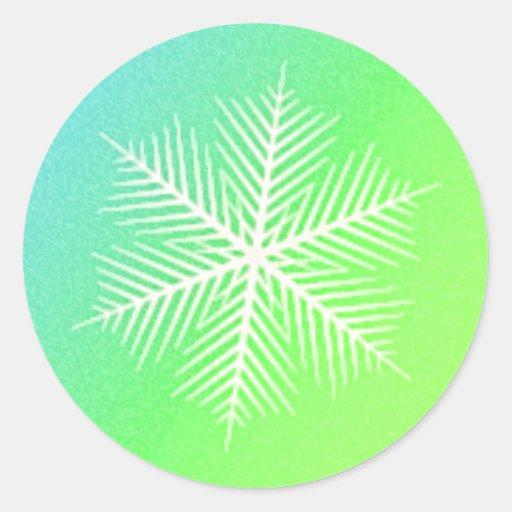 SNOWFLAKE 4 CLASSIC ROUND STICKER