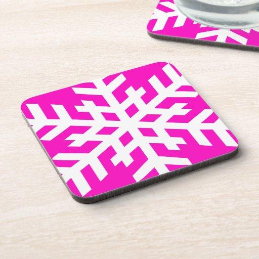 Snowflake 4 Pink Beverage Coasters