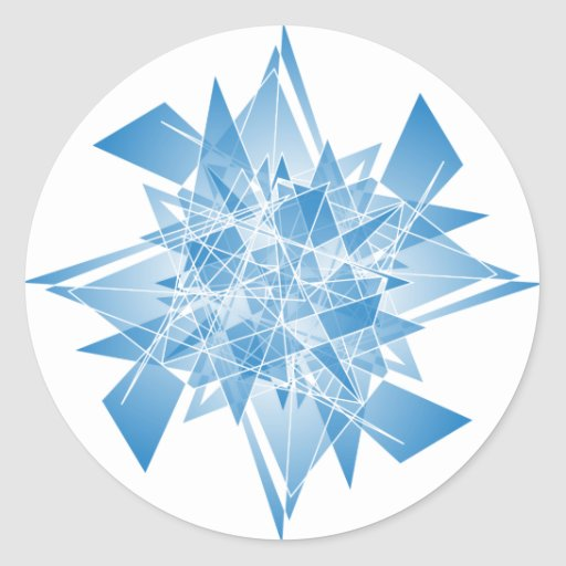 snowflake abstract round stickers