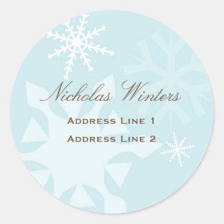 Snowflake Address Label Round Sticker