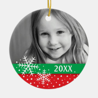 Snowflake and snow red green Christmas photo Ceramic Ornament