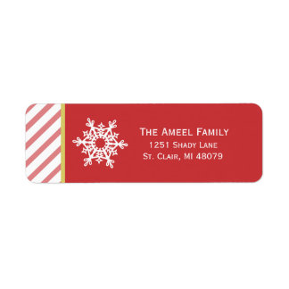 Snowflake and Stripe   Red Holiday Address Labels