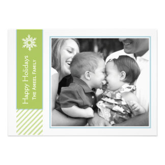 Snowflake and Stripes Green Holiday Photo Cards