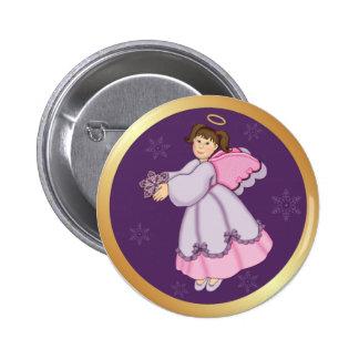 Snowflake Angel Pinback Button