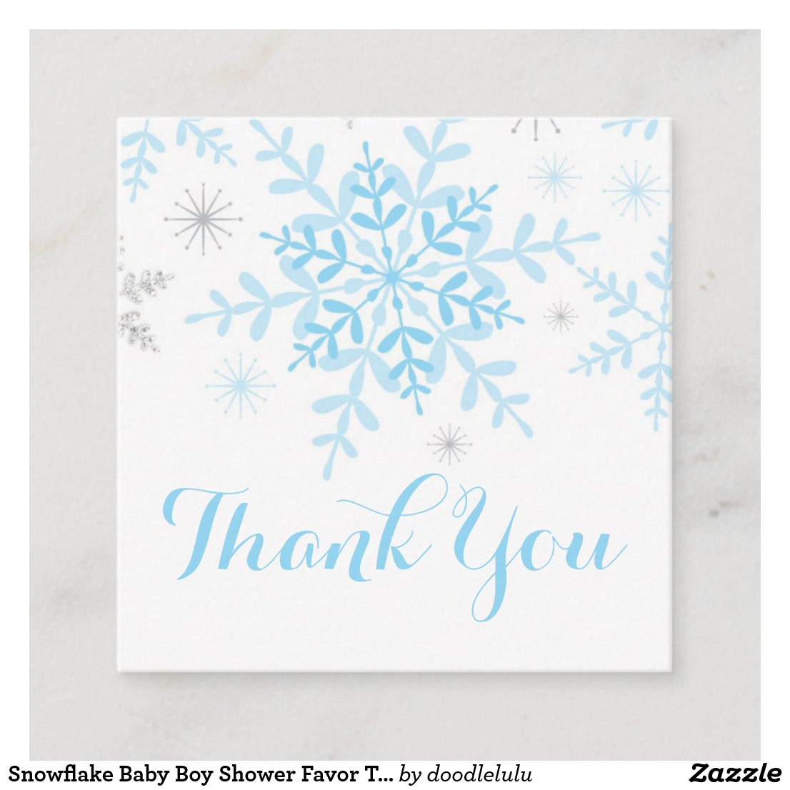 Snowflake Baby Boy Shower Favor Tag Blue Silver