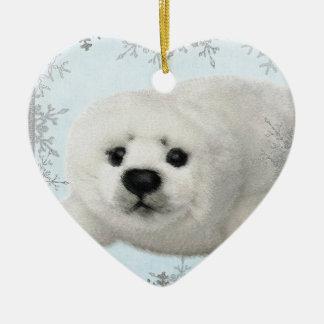 snowflake baby seal ceramic ornament