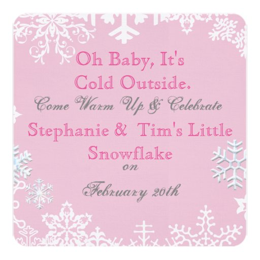 snowflake baby shower pink card zazzle