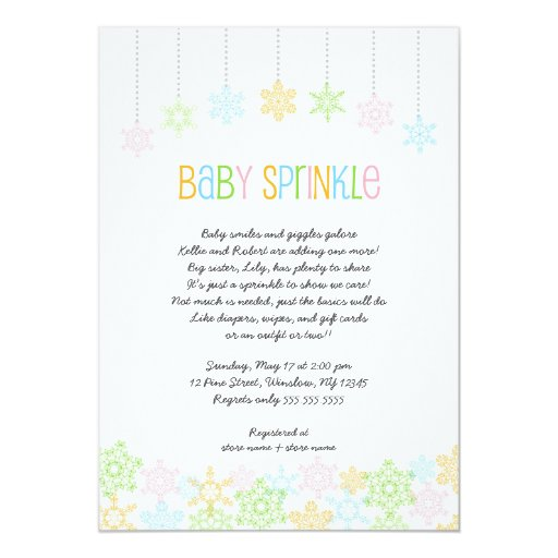 snowflake baby sprinkle invites winter baby shower zazzle