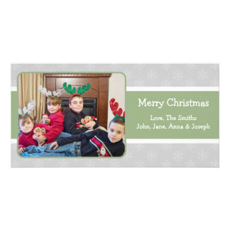 Snowflake Background X-mas Photocard (Sage/Silver) Card