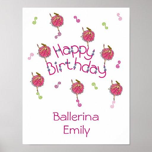 Snowflake Ballerina Birthday Poster
