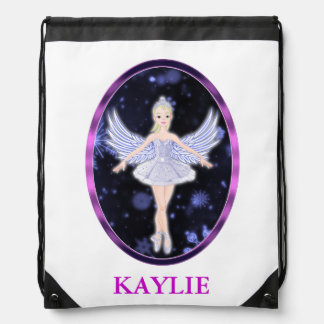 Snowflake Ballerina fairy Drawstring Backpack
