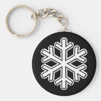 Snowflake Basic Round Button Keychain