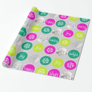 Snowflake Bauble pattern Christmas family photo Wrapping Paper