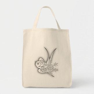 Snowflake & Birdie - Black & White Tote Bag