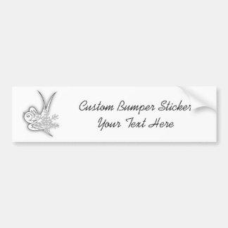 Snowflake & Birdie - Black & White Car Bumper Sticker