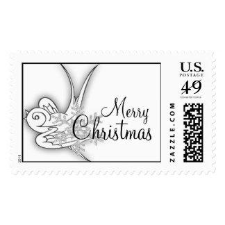 Snowflake & Birdie Christmas Design - B&W Infra... Postage Stamp