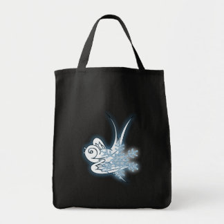 Snowflake & Birdie Christmas Design - Blue Tote Bags