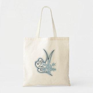Snowflake & Birdie Christmas Design - Blue Tote Bag