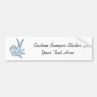Snowflake & Birdie Christmas Design - Blue Car Bumper Sticker