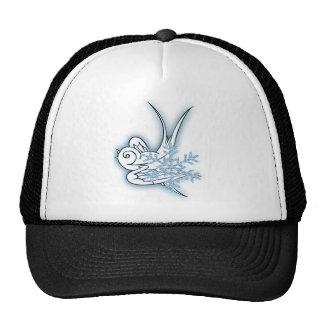 Snowflake & Birdie Christmas Design - Blue Trucker Hat