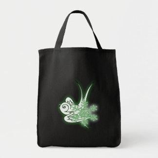 Snowflake & Birdie Christmas Design - Green Canvas Bag