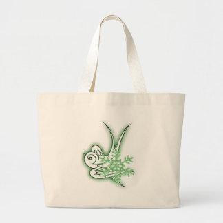 Snowflake & Birdie Christmas Design - Green Bag