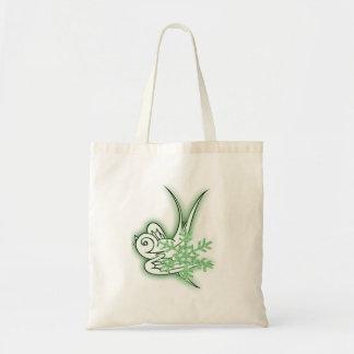 Snowflake & Birdie Christmas Design - Green Bags