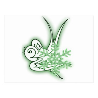 Snowflake & Birdie Christmas Design - Green Postcard