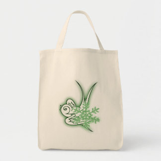Snowflake & Birdie Christmas Design - Green Tote Bag