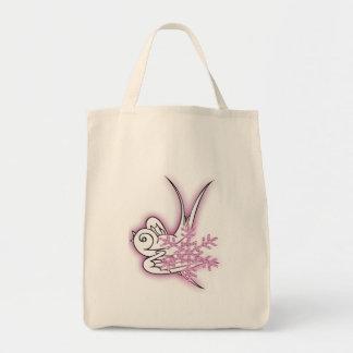 Snowflake & Birdie Christmas Design - Pink Canvas Bags