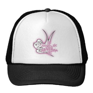 Snowflake & Birdie Christmas Design - Pink Trucker Hat