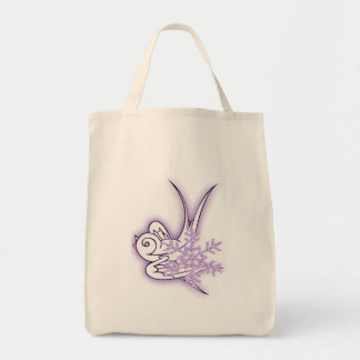 Snowflake & Birdie Christmas Design - Purple Bag