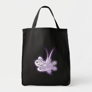 Snowflake & Birdie Christmas Design - Purple Canvas Bag