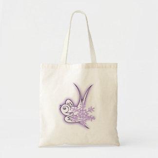 Snowflake & Birdie Christmas Design - Purple Bags