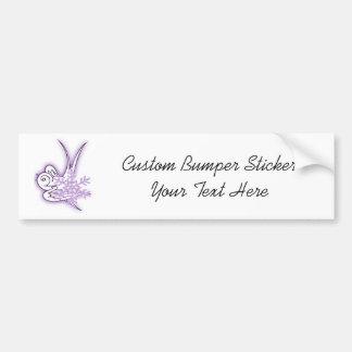 Snowflake & Birdie Christmas Design - Purple Car Bumper Sticker