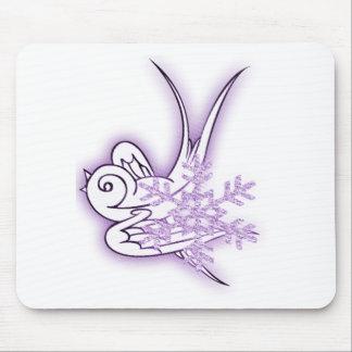 Snowflake & Birdie Christmas Design - Purple Mouse Pad