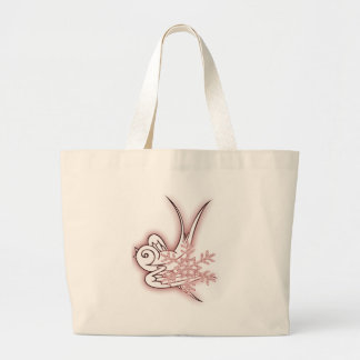 Snowflake & Birdie Christmas Design - Red Canvas Bag