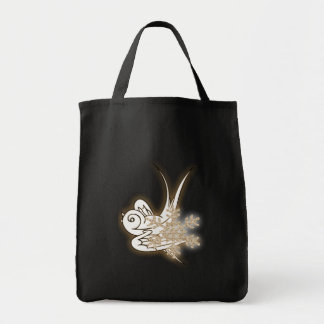 Snowflake & Birdie Christmas Design - Sepia Canvas Bags