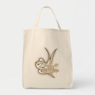 Snowflake & Birdie Christmas Design - Sepia Canvas Bag