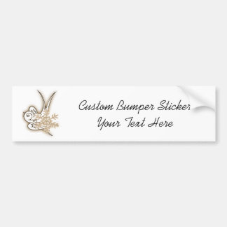 Snowflake & Birdie Christmas Design - Sepia Car Bumper Sticker