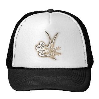 Snowflake & Birdie Christmas Design - Sepia Trucker Hat