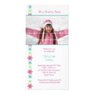 Snowflake Birthday Photocard Invitation