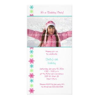 Snowflake Birthday Photocard Invitation Photo Card