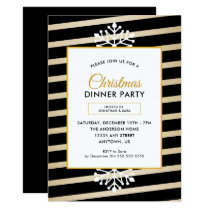 Snowflake | Black and Gold Stripes Christmas Party Invitation