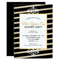 Snowflake | Black Stripes New Year's Eve Party Invitation