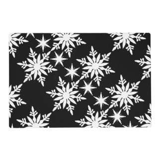 Snowflake black white table setting placemat